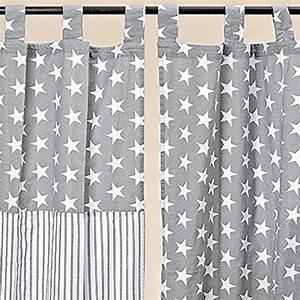Gardinen Kinderzimmer Sterne : vorhang schlaufenschal gardine stern streifen baumwolle grau weiss 240 140cm streifen 1460100 ~ Markanthonyermac.com Haus und Dekorationen