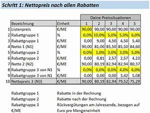 Rabatte Berechnen : mehrstufige rabatte und nettopreis berechnung ~ Themetempest.com Abrechnung