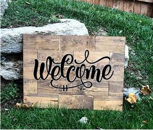Large, Rustic, Pine, Wood, Welcome, Sign, U2013, Knot, And, Nest, Designs