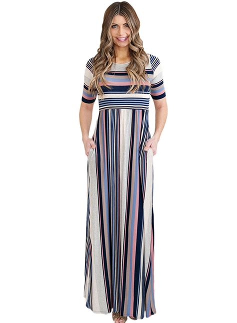Womens Round Neck Half Sleeve Striped Printed Maxi Dress