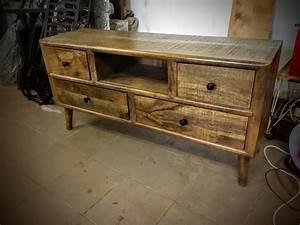 Meuble Tv Vintage Scandinave : meuble tv bois recycl massif style r tro scandinave vintage ~ Teatrodelosmanantiales.com Idées de Décoration