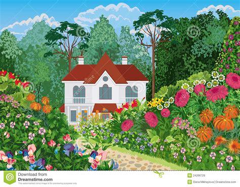 Haus Im Garten Vektor Abbildung Illustration Von