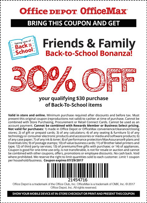 Office Depot Coupon Code by Office Depot Coupons 30 30 On Back To School