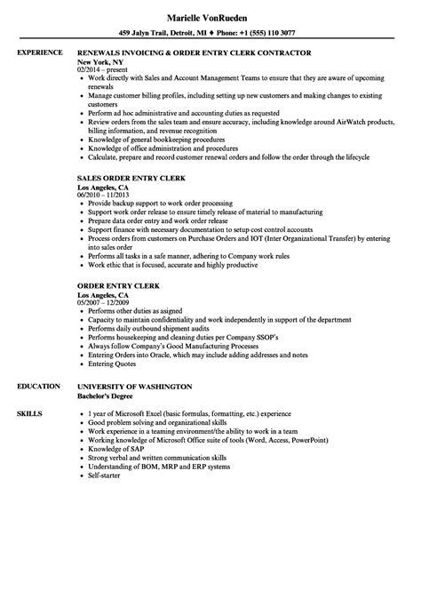 Order Processing Resume by Order Entry Clerk Resume Sles Velvet