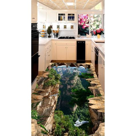 3D pvc flooring custom wall sticker Mountains stereoscopic