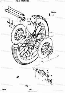 Suzuki Motorcycle 1976 Oem Parts Diagram For Front Wheel