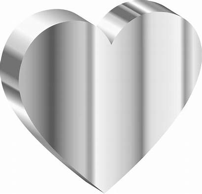 Steel Clipart Heart 3d Stainless Gray Transparent