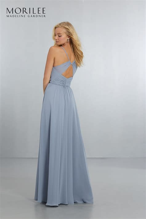 chiffon bridesmaids dress with draped v neck bodice and