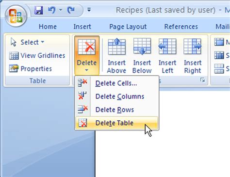 delete word table 2007 choose dummies microsoft button office