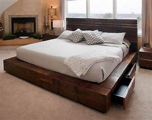 Rustic meets modern in this contemporary platform bed ...