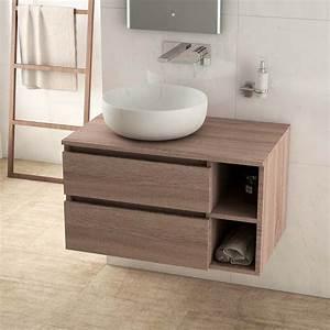 meuble salle de bain chene fonce 80 cm 2 tiroirs terra With meuble 80 cm salle de bain