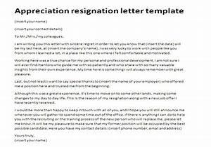 appreciation resignation letter template