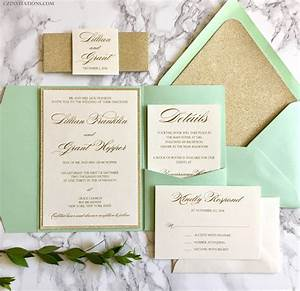 mint and gold glitter pocket wedding invitations with glitter With pocket wedding invitations minted