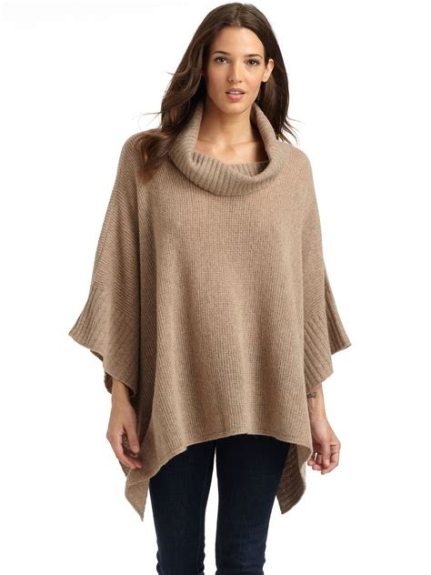 Eileen fisher Wool Cashmere Knit Poncho Sweater in Natural ...