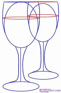 How to draw champagne glass
