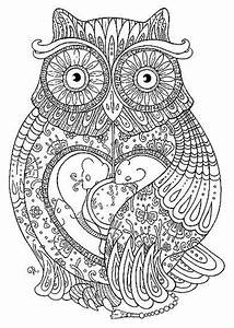 Grown up coloring pages abstract owl - ColoringStar
