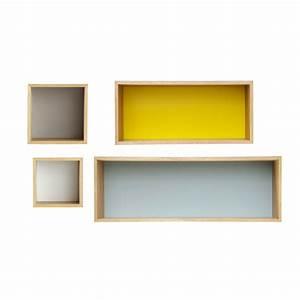 étagère à épices Maison Du Monde : 4 vintage multicoloured wooden wall shelves l 25 to 100 cm fjord maisons du monde ~ Teatrodelosmanantiales.com Idées de Décoration