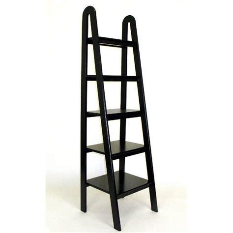 Basswood 5 Tier Ladder Bookcase In Black 9025b