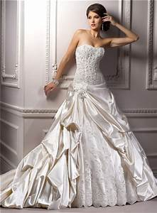 Romantic Ball Gown Strapless Champagne Satin Lace Beaded ...