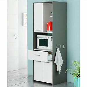meuble a micro onde en panneaux de particules gris et With meuble pour micro onde encastrable