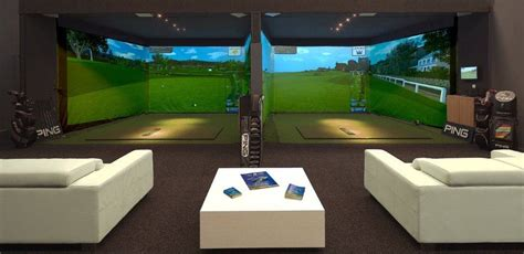 screen golf simulator golf room man cave golf