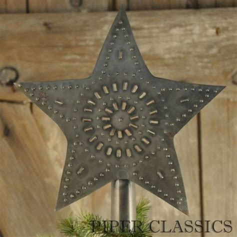 punched tin star tree topper large