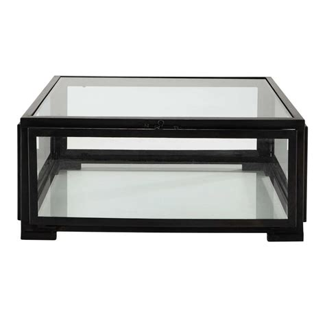 glass and metal square coffee table in black w 80cm alphonse maisons du monde