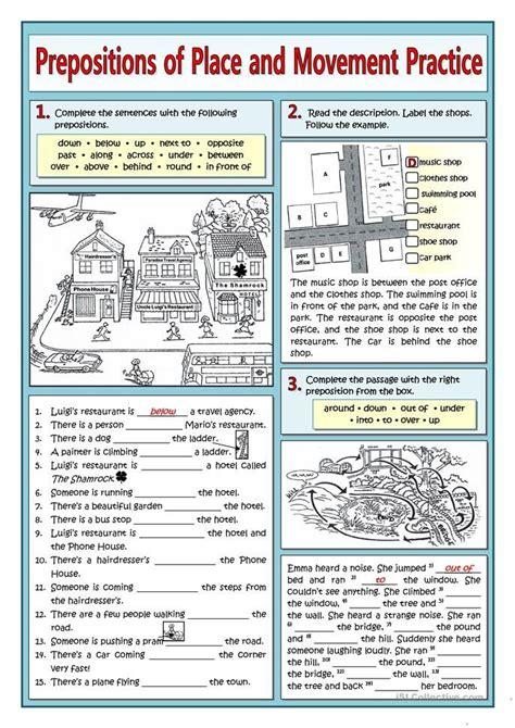 prepositions  place  movement practice english esl