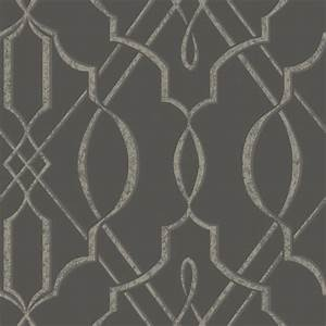 Arabesque Design Wallpaper, Gray, Sample - Contemporary