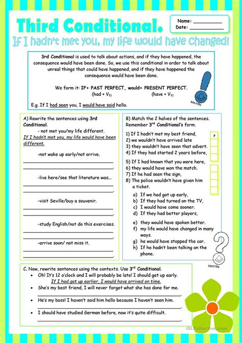 Third Conditional (grammar Review For Intermediate Students) Worksheet  Free Esl Printable