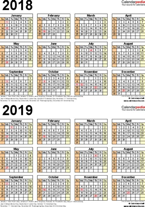 2018 2019 school year calendar template 2018 2019 calendar free printable two year pdf calendars