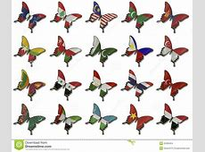 Collage From Asian Flags On Butterflies Stock Photo