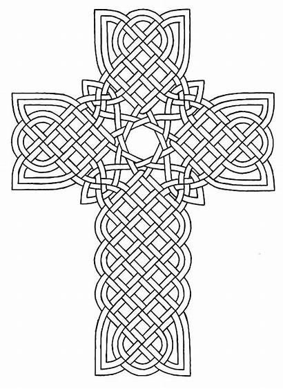 Coloring Cross Celtic Adult Rose Decorated Sheets