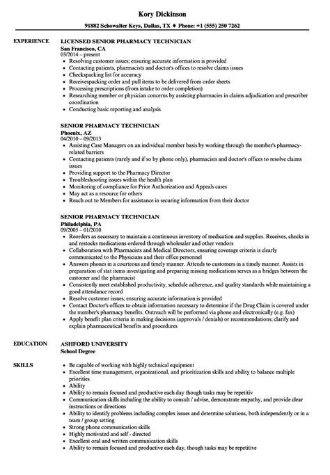 Pharmacy Technician Resume Exle by 20 Cv Pharmacy Assistant Formsresume