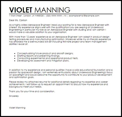 aerospace engineer cover letter sample cover letter