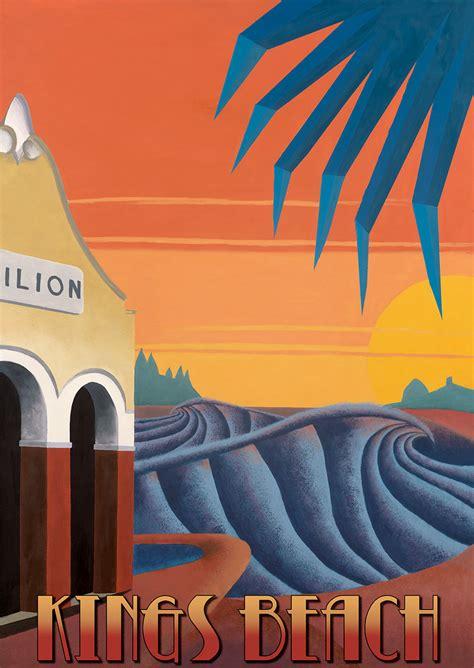 Art Deco Boat Poster by Art Deco Surf Posters Series Scott Denholm Ocean Art