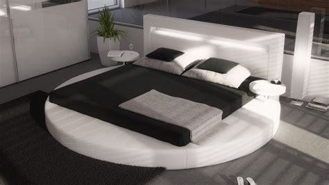 lit rond simili blanc avec 233 clairage int 233 gr 233 140x190 cm uster gdegdesign