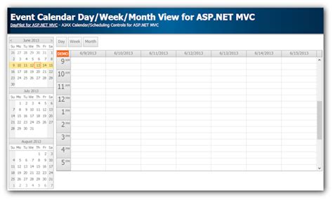 event calendar dayweekmonth views aspnet mvc