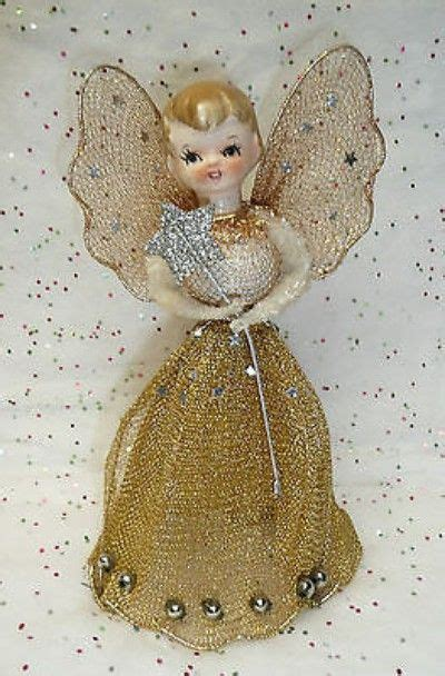 motorized angel tree topper wings head and arms move 50 s 60 s tree topper wire mesh mercury glass gorgeous