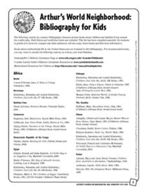 arthur s world neighborhood bibliography for 1st