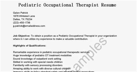 Pediatric Occupational Therapist Resume by Resume Sles Pediatric Occupational Therapist Resume