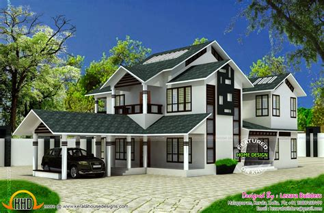 complete house plans modern sloping roof house kerala home design floor plans