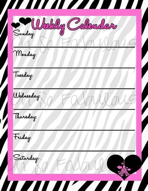 printable weekly calendar planner   list pink  zebra