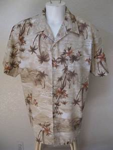 Mens Cal Top L Hawaiian Shirt Beige Khaki Floral Palm Aloha Print Classic Large Usd   18 99 End Date