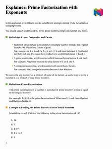 Lesson  Prime Factorization With Exponents