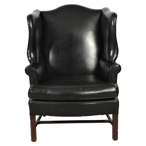 black leather wing chair black rock galleries
