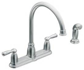moen one handle kitchen faucet repair moen 87000 banbury two handle high arc kitchen faucet with sidespray in chrome traditional