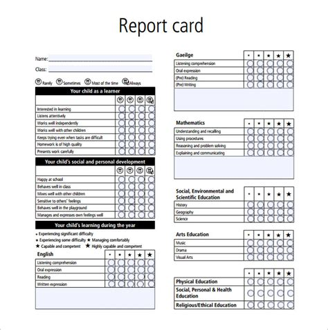 report card template   word excel  documents
