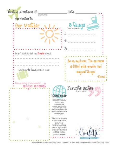 Travel Template For Kids by Kids Printable Travel Journal Confetti Travel Company
