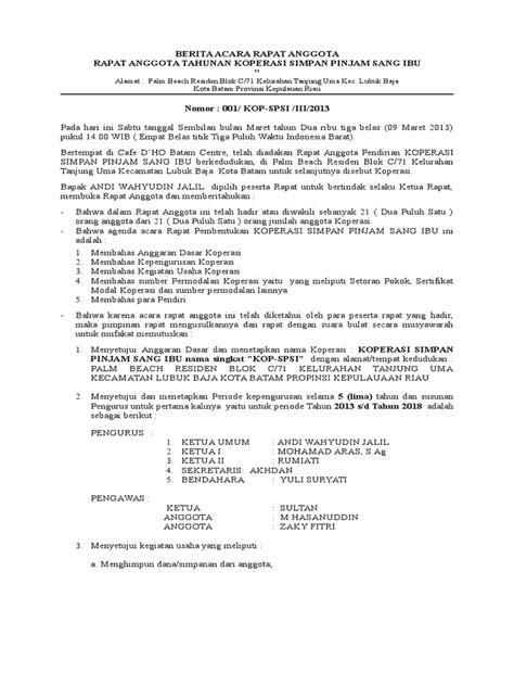 Contoh Berita Acara Rapat Organisasi by 1 Contoh Berita Acara Rapat Pembentukan